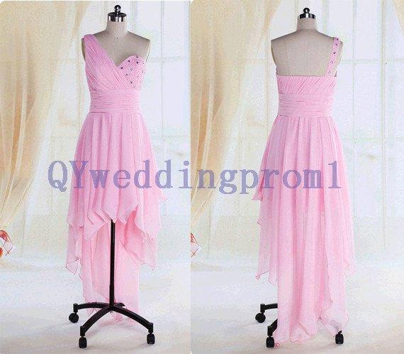2015 New pink  nail bead chiffon evening dress, simple PROM dress, cheap bridesmaid dresses
