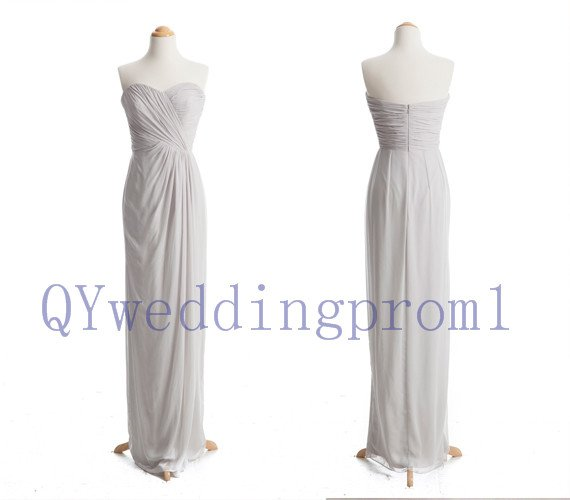 2015 New gray long chiffon evening dress, simple chiffon PROM dress, cheap bridesmaid dresses