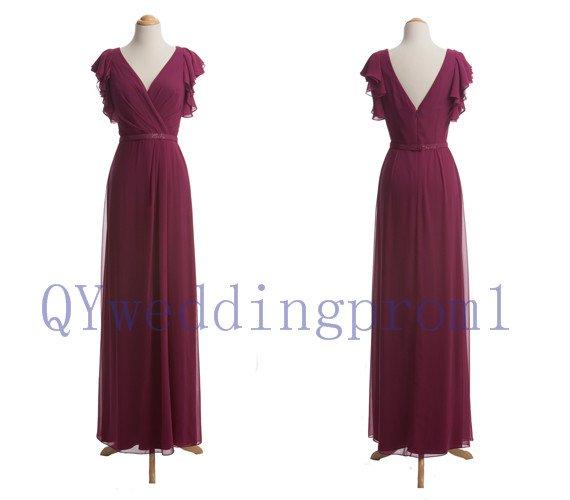 2015 New long chiffon Leak back evening dress, simple chiffon PROM dress, cheap bridesmaid dresses