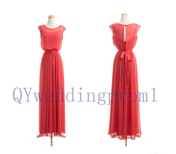 2015 New evening dress, simple Watermelon red chiffon PROM dress, cheap bridesmaid dresses