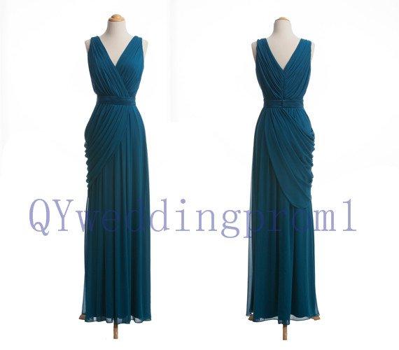 2015 New long v-neck evening dress, simple chiffon PROM dress, cheap bridesmaid dresses