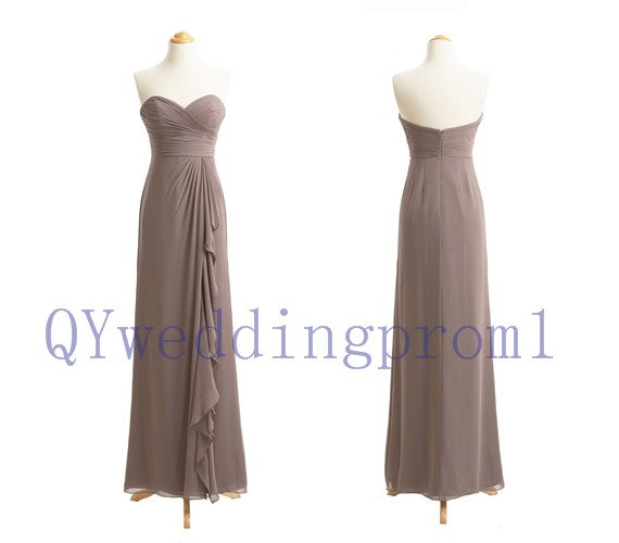 2015 New long evening dress, simple chiffon PROM dress, cheap bridesmaid dresses,custom size color