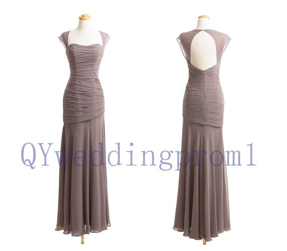 2015 New Leak back evening dress, simple long chiffon PROM dress, cheap bridesmaid dresses