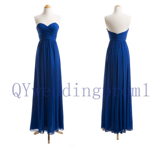 2015 New blue evening dress, simple chiffon PROM dress, cheap bridesmaid dresses,custom size