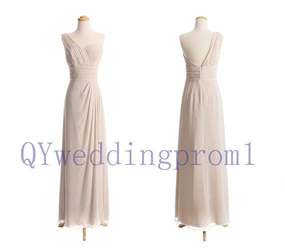 2015 One shoulder evening prom dress, simple chiffon PROM dress, cheap bridesmaid dresses