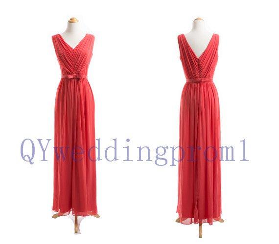 2015 New red v-neck chiffon evening dress, simple chiffon PROM dress, cheap bridesmaid dress