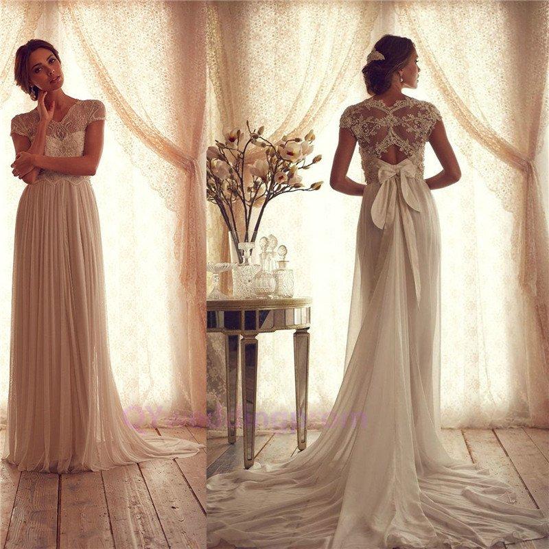 2014 New Beading Bodice V-Neck Cap Sleeves bow tie Sash Chiffon Wedding Dress