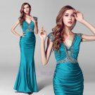2015 New sexy V neck beads Capped sheath prom gown long sexy formal evening dress
