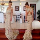 2015 New custom Long White lace Formal Party Evening Prom Cocktail Dresses Wedding Gown