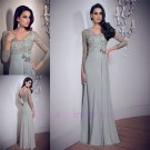 2015 New custom Long Sleeves Lace Formal Mermaid Prom Evening Dress Wedding Gown