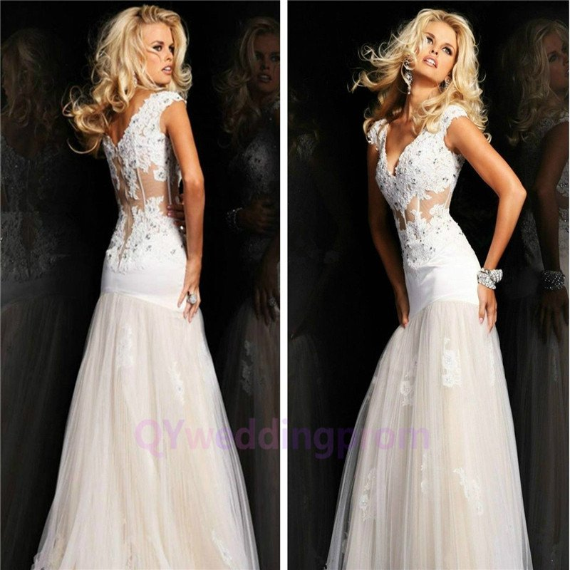 2015 New custom Long Lace Evening Dresses Cap Sleeve V-Neck Mermaid See Through Prom Dress