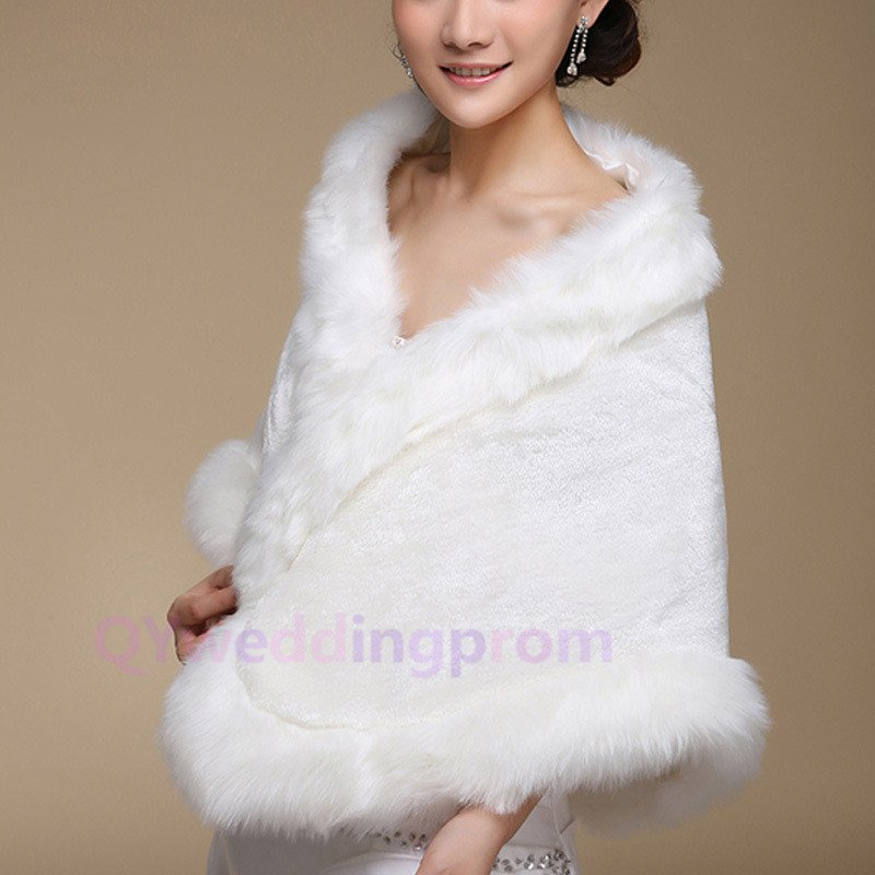 Off-white long plush thick warm winter warm cloak shawl bride
