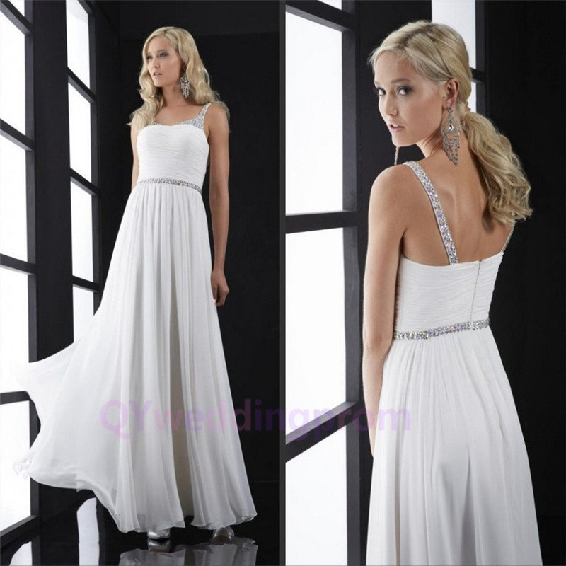 Custom 2016 Sexy Backless A line Long Chiffon Spaghetti Strapless Evening Party Prom Dress