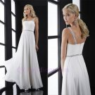 Custom 2016 Sexy Backless A line Long Chiffon Spaghetti Strapless Evening Party Prom Dress