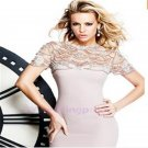 New Purple Crystal Formal Dress Long Court Train Gorgeous Short Sleeves Evening Dress Gowns