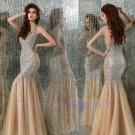 Custom made Champagne Dark V-neckline Evening Dresses 2015 NEW Prom Gowns