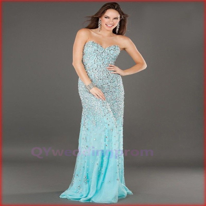 Top quality new fashion sexy mermaid crystal beaded floor length evening dresses