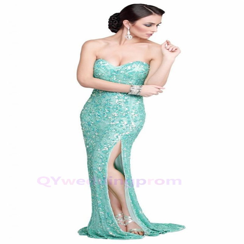 2015 New Crystal Beaded Floor-Length Formal Evening Dresses
