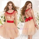 A Line Short/Mini Cap Sleeve See Through Sweetheart Neckline Red Belt Short Evening Dress