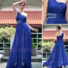 Mix Color And Size One Shoulder A Line Ruched  Chiffon Blue Evening Dress