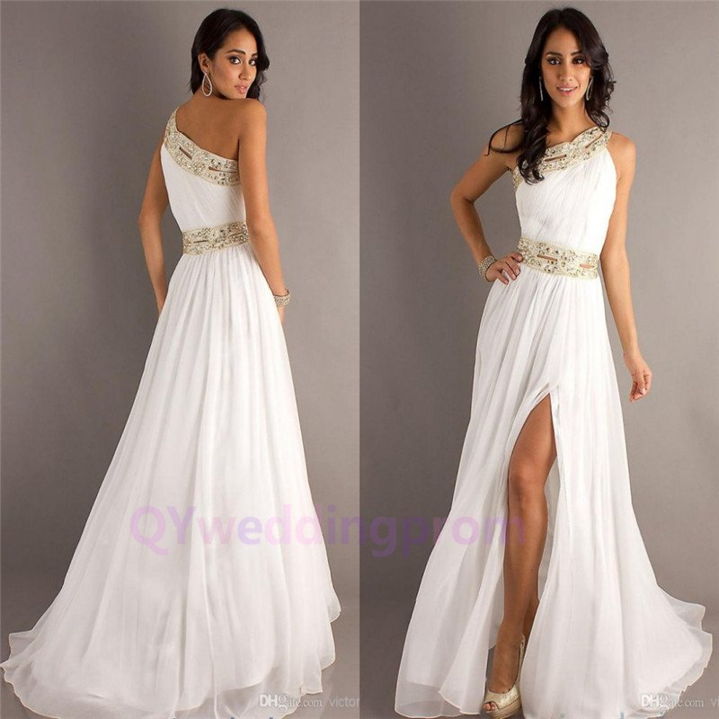 One Shoulder Gold Beading White A Line Sexy High Slits Floor Length Prom Dresses 2015