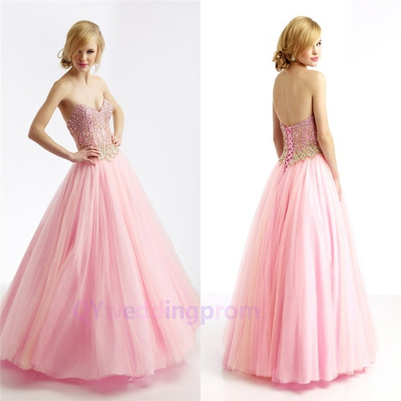 New A Line Off Shoulder Empire Lace Up Back Floor Length New Arrival Pink Prom Dress