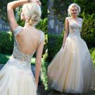 Beaded Jewel A Line Zipper Pleated Floor Length Backless Tulle Puffy Prom Dress
