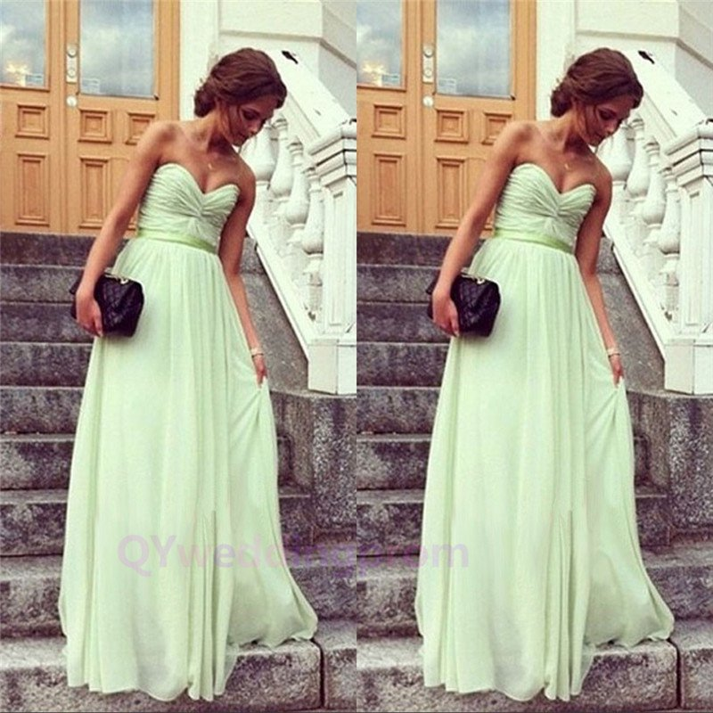 Elegant Design Sweetheart Empire Straight Chiffon floor length Evening Mint Prom Dress