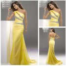 High Quality Beaded One Shoulder Sheath Chiffon Yellow Sexy Prom Dress 2015 New