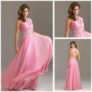 New  Appliques one Shoulder Backless Party Dresses Evening Pink Sex Prom Dresses