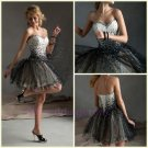 2015 A Line Graduation Beaded Sweetheart Neckline Mini Corset Back Design Short Prom