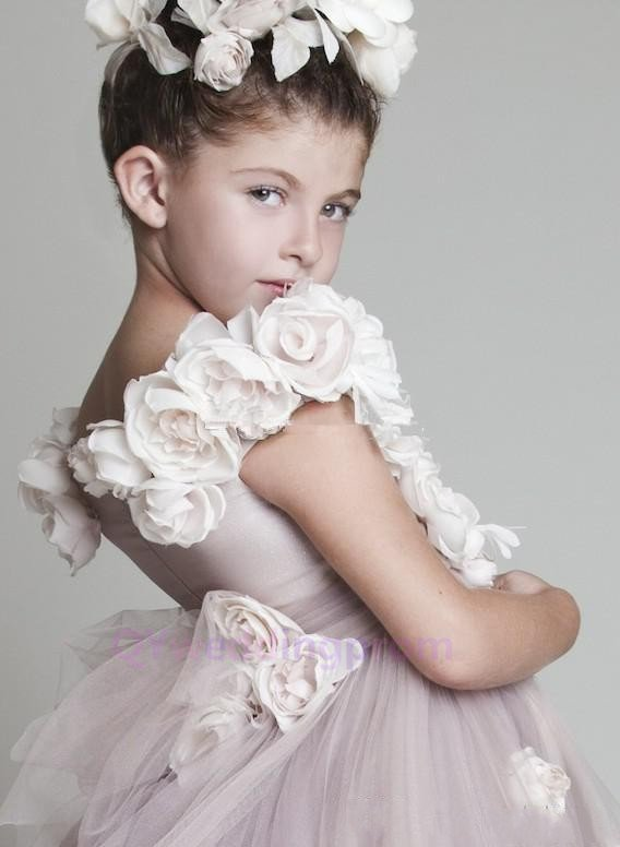 2015  Flower Girl Dresses With Flowers Pink Ball Gown Long Custom Tulle Toddler Pageant Dresses