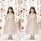Elegance Sequins Flower Girl Dresses High Neck Bow Tie  Custom Size Evening Dress Girl Child 2015
