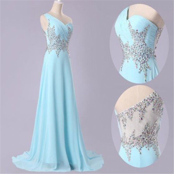 New Long Sexy One-shoulder Evening Party Beads Long Prom Gown Formal Bridesmaid Cocktail Dress