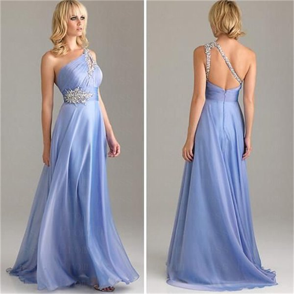 New Long Sexy One-shoulder Evening Party Beads Backless Prom Gown Formal Bridesmaid Cocktail Dress