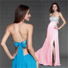 New Long Sexy Evening Party Strapless beads Backless Prom Gown Formal Bridesmaid Cocktail Dress