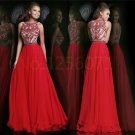 2015 New Red Boat Neck Long Pageant Evening Prom Cocktail Dress Party Gown Long Party Dress