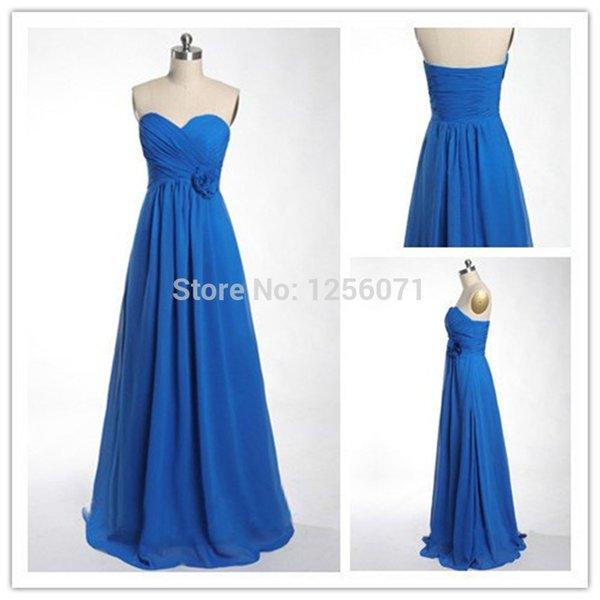 2015 New women Strapless cheap blue chiffon PROM dress bridesmaid dresses custom size color