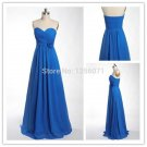 2015 New women Strapless cheap blue chiffon PROM dress bridesmaid dresses custom size color