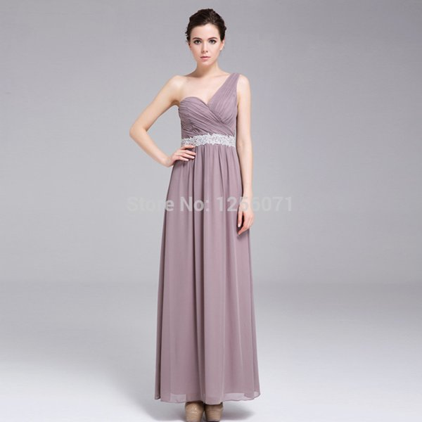2015 New women chiffon One shoulder bridesmaids dress long evening dress custom size color