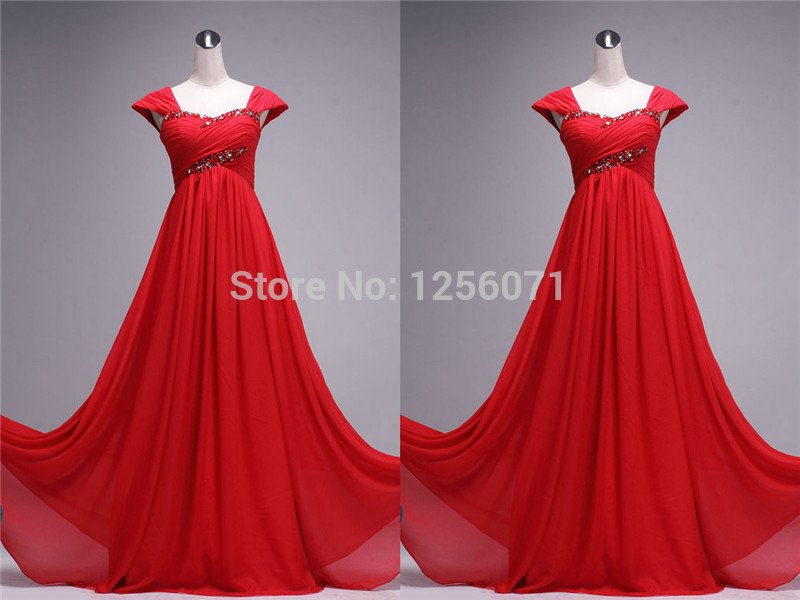 2015 New women red beaded chiffon prom dress cocktail dress long evening dress custom size color