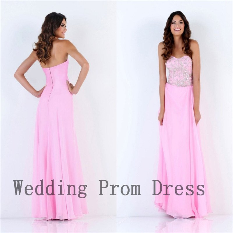 2015 A Line Strapless Pink Chiffon Beading Zipper Design Modest Style Long Prom Dresses