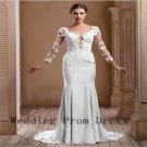 Custom Made Appliqued Natural Floor Length Court Train Long Sleeves Evening Gowns Dresses