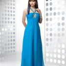 Sexy A-Line Custom Made Long Chiffon Blue Luxury Beadings School New Term Prom Dress