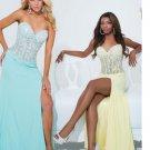 Long Evening Dress Sweetheart Blue Plus Size A line sleeveless floor length long evening dress