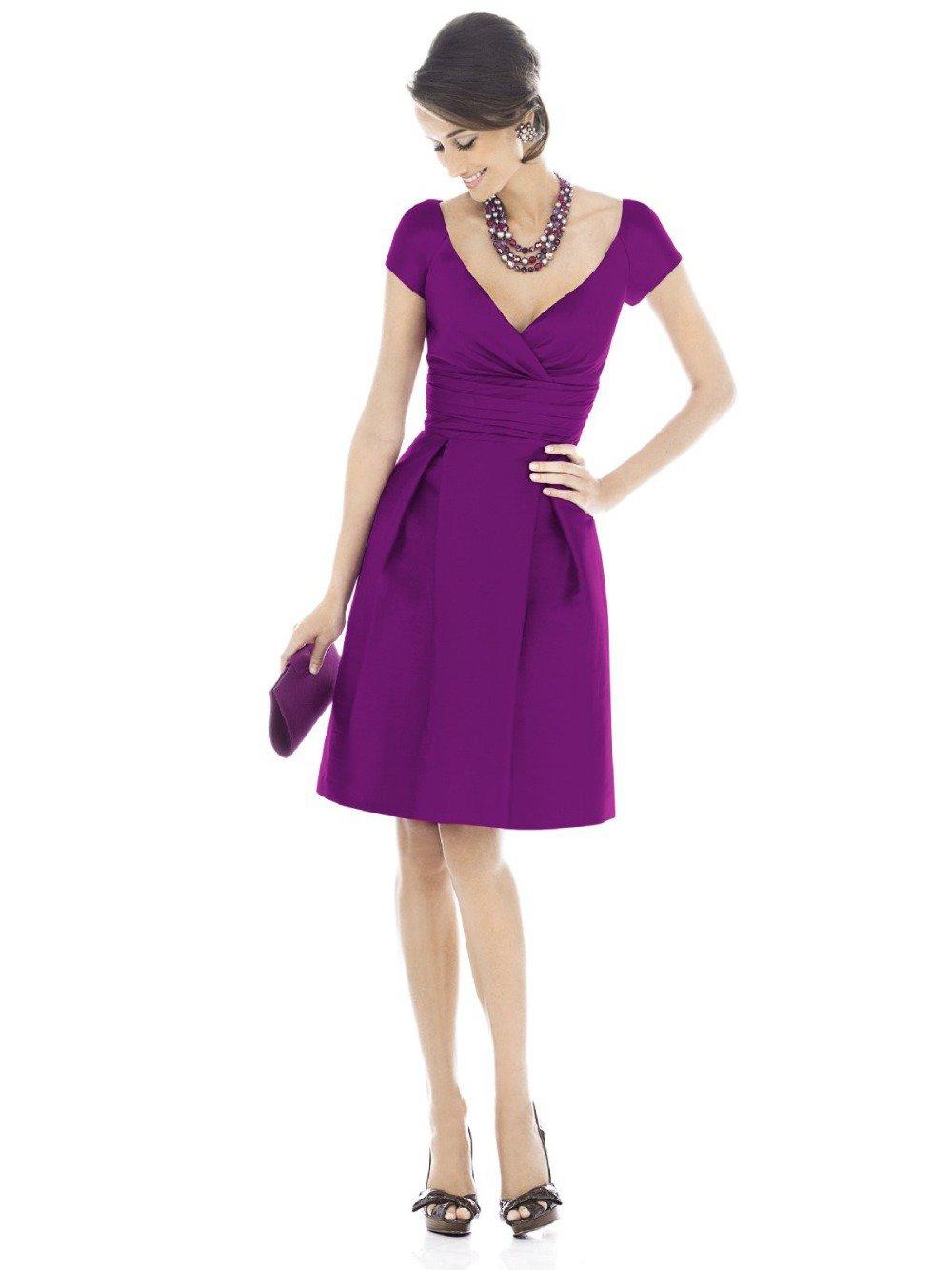 Evening Dress Purple V-neck Chiffon A-Line knee length short evening dress