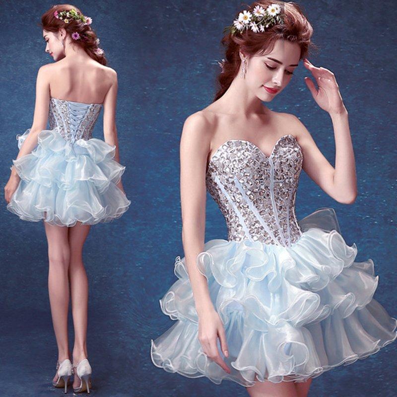 Sexy strapless Light Blue Short Dresses Crystals short evening dress