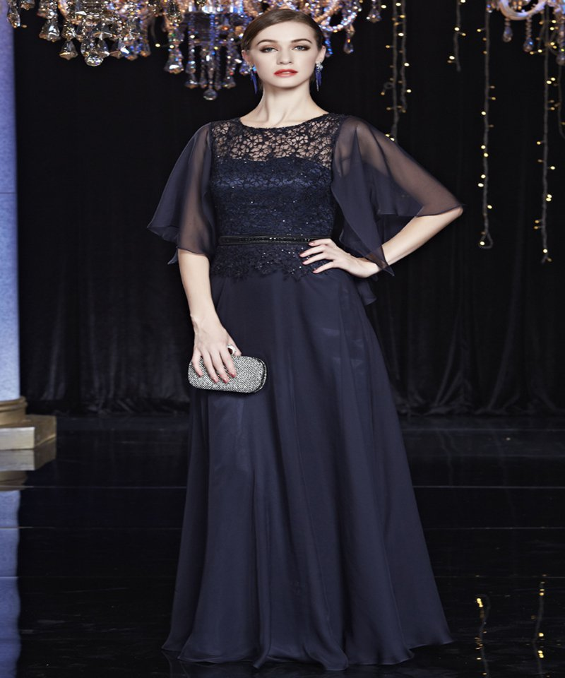Custom Size Navy Blue Lace Long evening Dresses Beaded Elegant Evening Dress