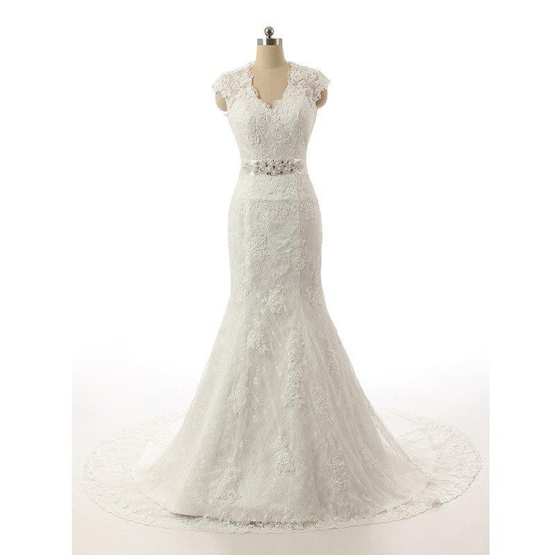 Plus Size Mermaid Wedding Dresses Cap Sleeve V-Neck Long White Lace Wedding Dress