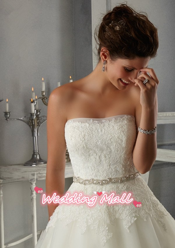 Lace Wedding Dress Fashionable Strapless Backless Ivory Long Wedding Dresses A-Line Wedding Dress